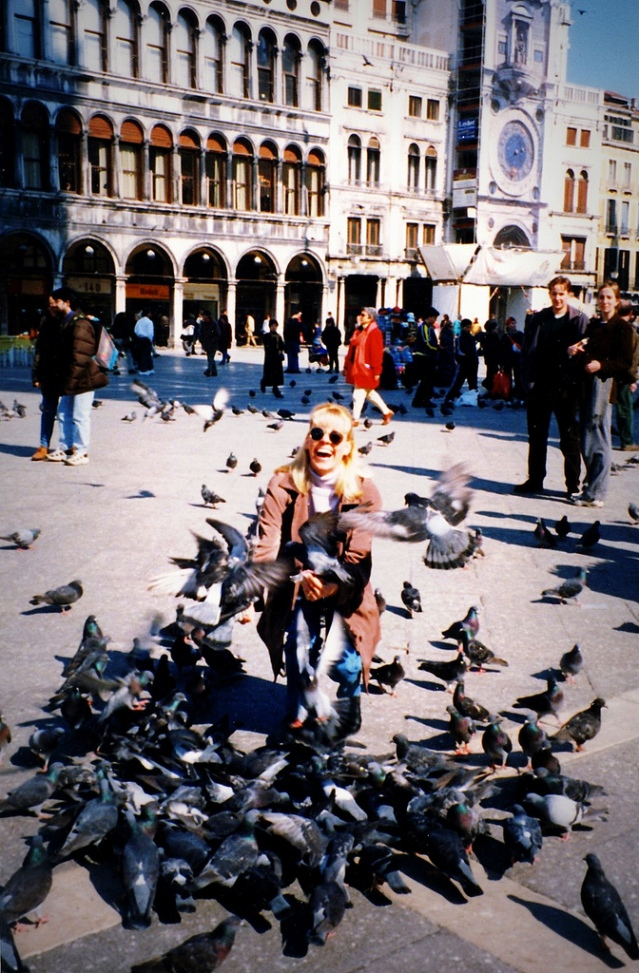 When Pigeons Attack! Throwback Thursday: Me in Venice feeding the pigeons, 1999